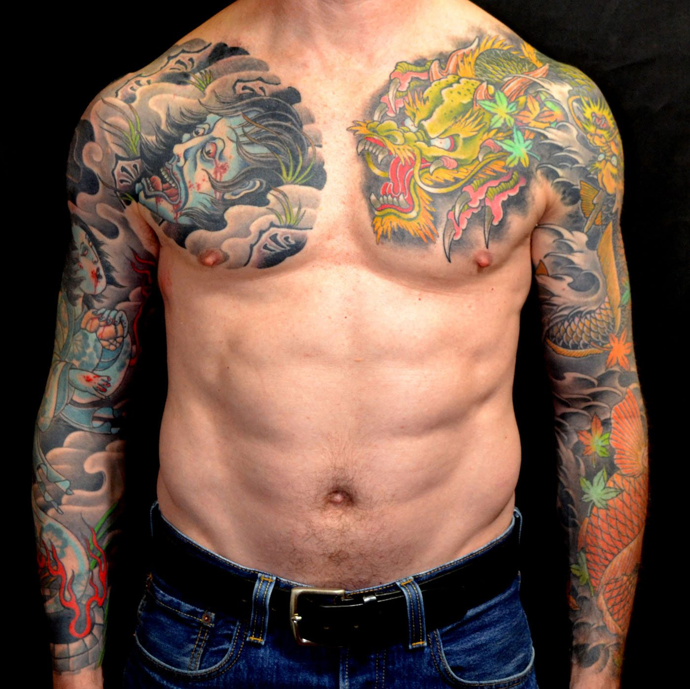Chest Dragons Japanese Sleeve Tattoo Slave To The Needle throughout measurements 1400 X 1399