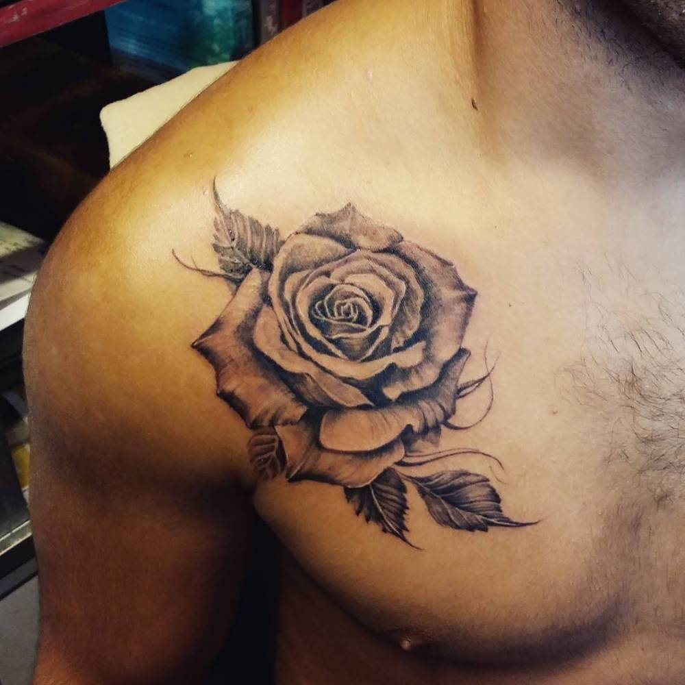 Chest Tattoo Of A Rose pertaining to size 1000 X 1000