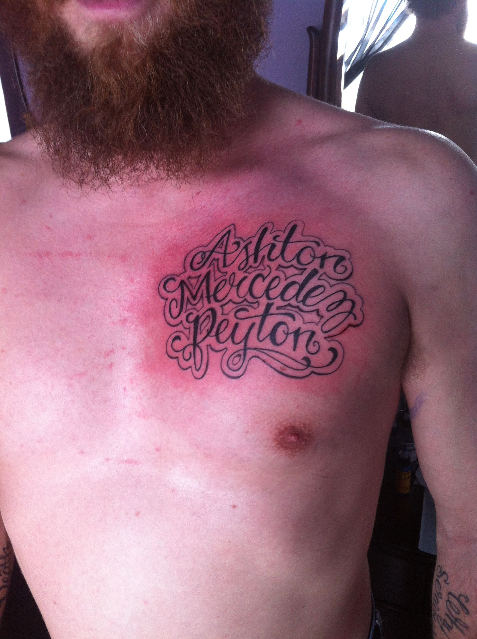 Chest Tattoo Of Kids Names Placement Of Tattoo Tattoos For Him with regard to size 1936 X 2592