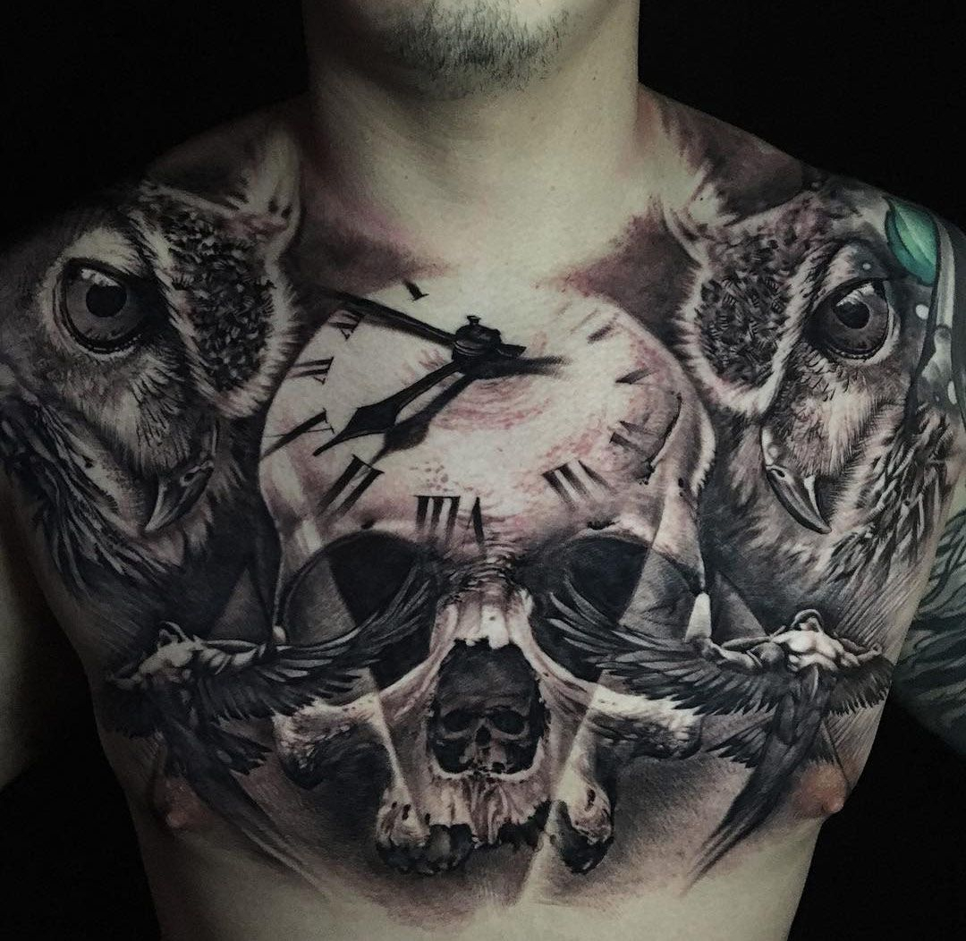 Chest Tattoo With Skull Clock Owls Tattoo Tatuaje De Pecho pertaining to proportions 1080 X 1052