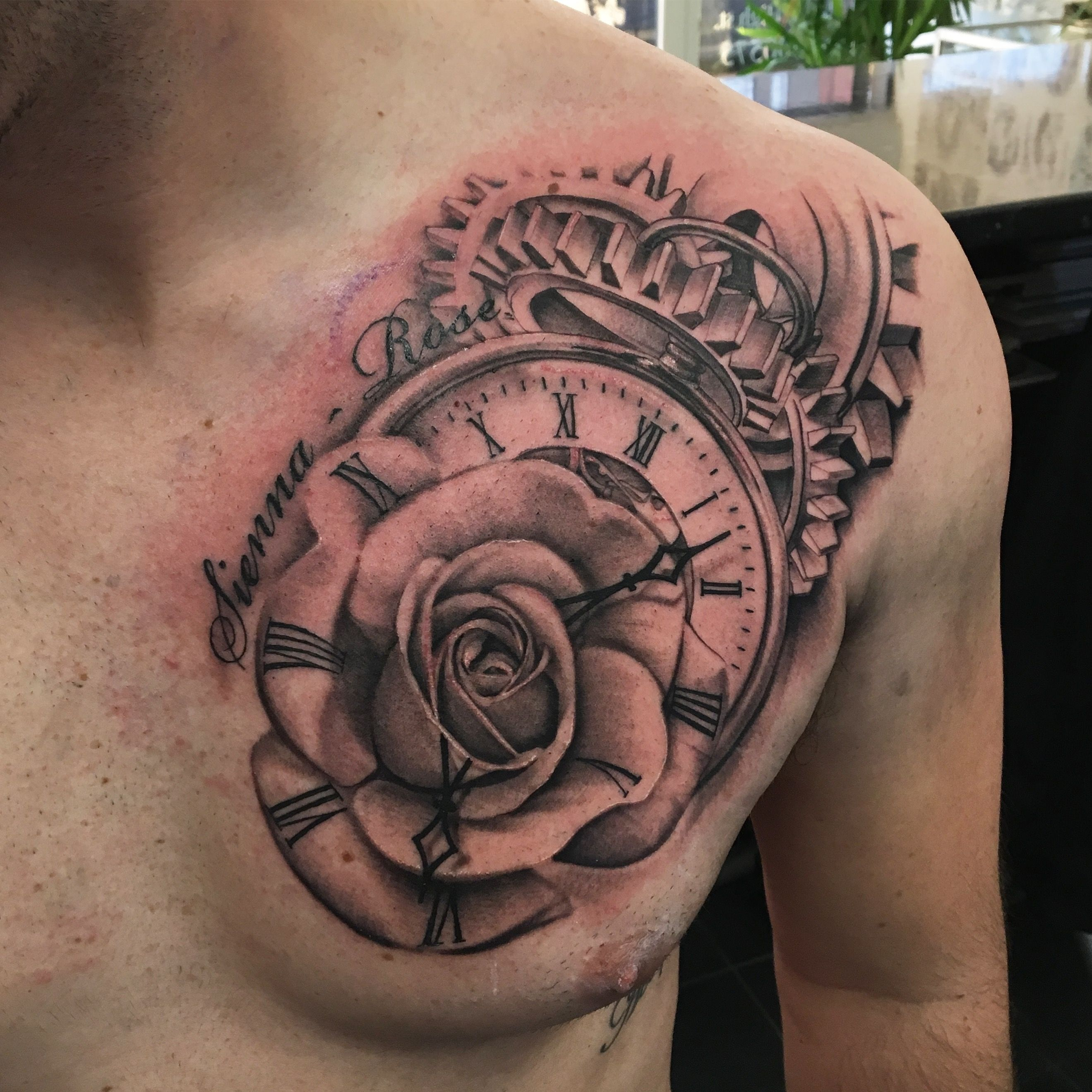 Clock Rose Time Chest Tattoo Chest Tattoo Rose Chest Tattoo for sizing 2639 X 2639