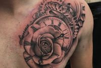 Clock Rose Time Chest Tattoo Chest Tattoo Rose Chest Tattoo with regard to proportions 2639 X 2639
