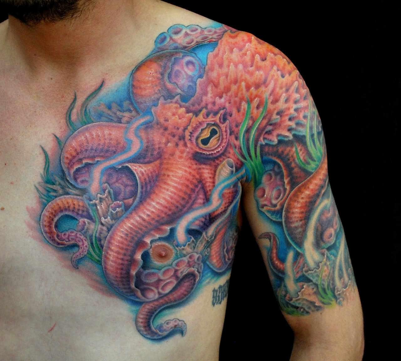 Colored Octopus Tattoo On Chest And Left Shoulder with regard to dimensions 1280 X 1151