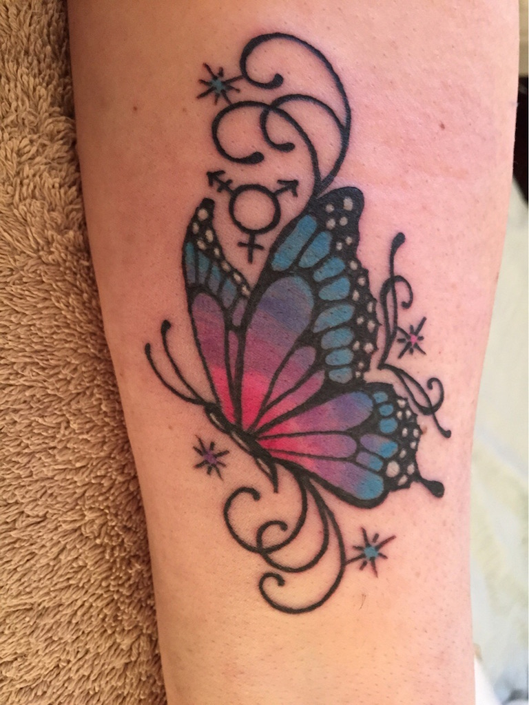 Colorful Butterfly Tattoo On Side Leg for sizing 768 X 1024