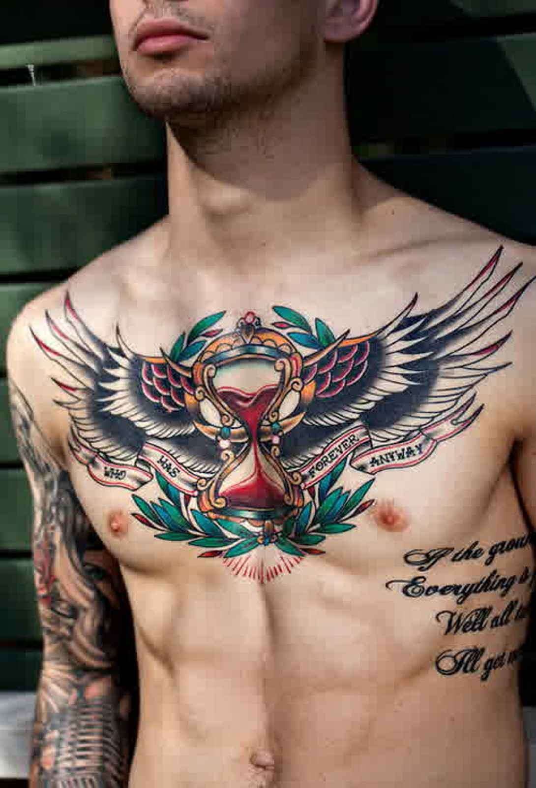 Colorful Wings Chest Tattoo For Men intended for measurements 1090 X 1600