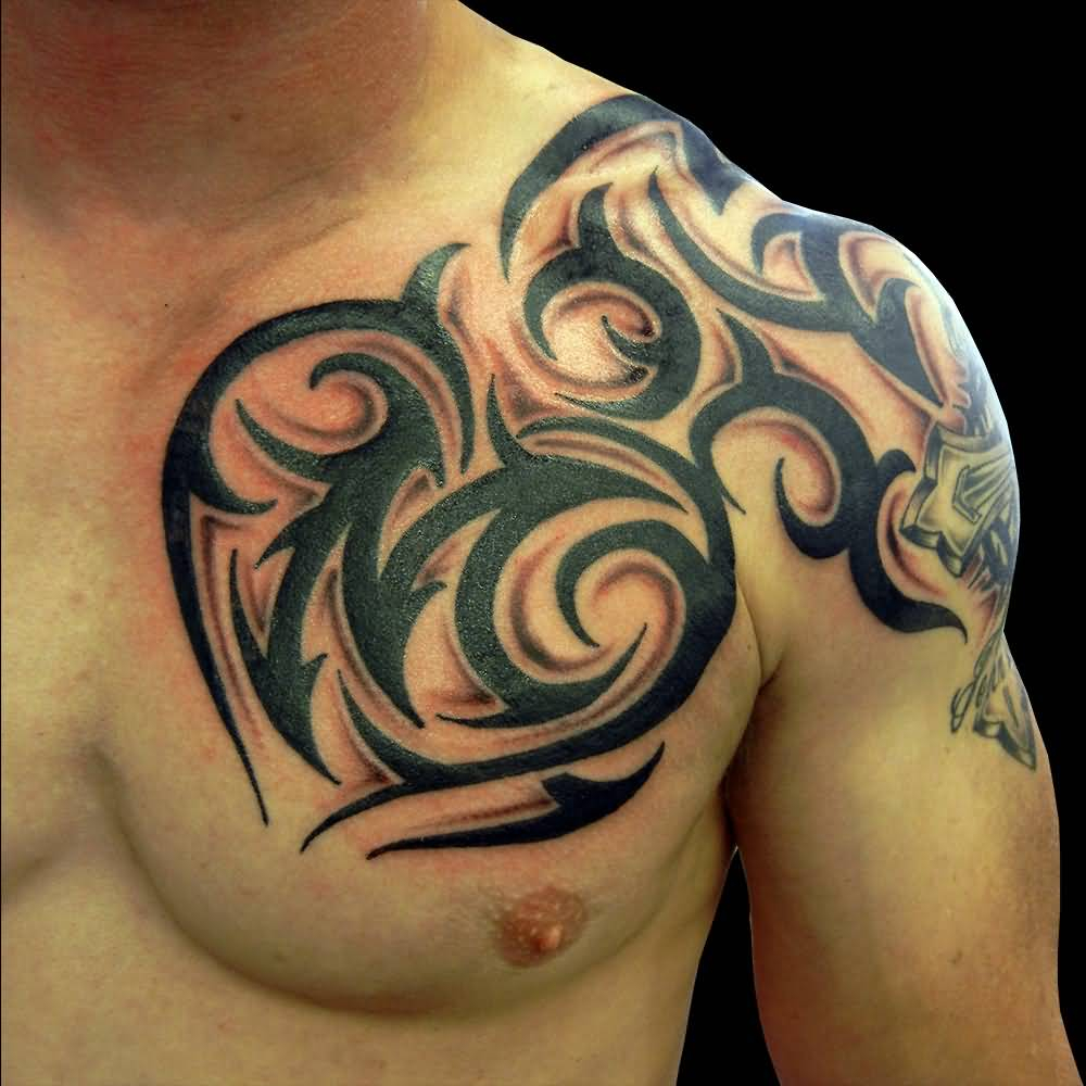 Cool Tribal Design Tattoo On Left Shoulder And Chest with dimensions 1000 X 1000