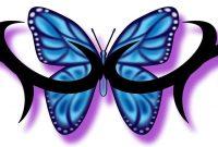 Daintytriballowerbacktattos Blue Butterfly And Tribal inside measurements 3114 X 780