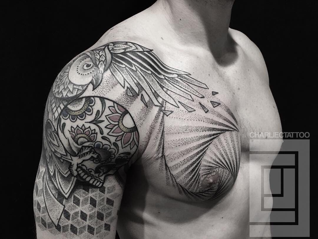 Dotwork Shoulder And Chest Tattoo Charlie Cung Guru Tattoo San throughout dimensions 1080 X 810