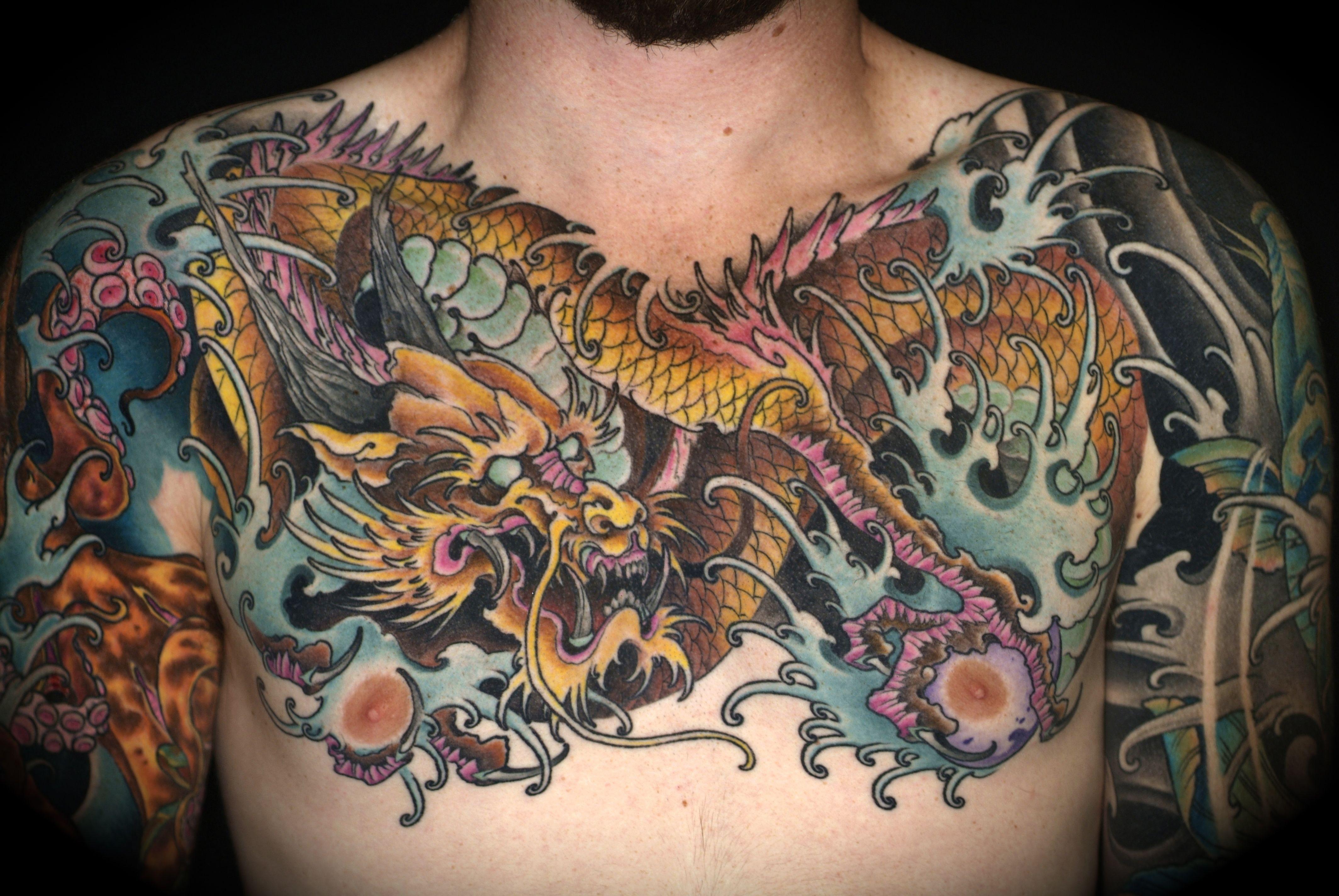 Dragon Chest Piece Ben Chest Tattoo Dragon Head Tattoo Mask Tattoo with regard to size 4256 X 2848