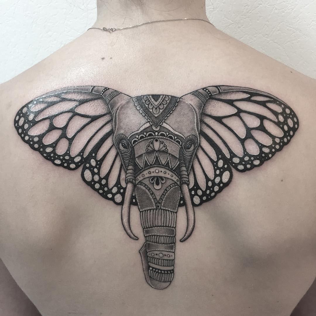 Elephant Tattoo With Butterfly Ears Tattoos On Men Elephant inside size 1080 X 1080