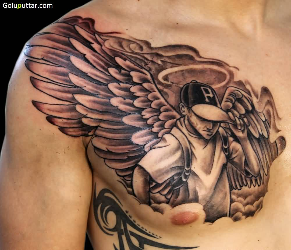 Extremely Best Angel Tattoo Design On Chest Goluputtar inside proportions 1000 X 859