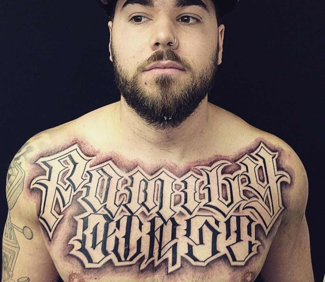 Family First Chest Lettering Tattoo Tattoo Styles Tattoos within proportions 1125 X 976