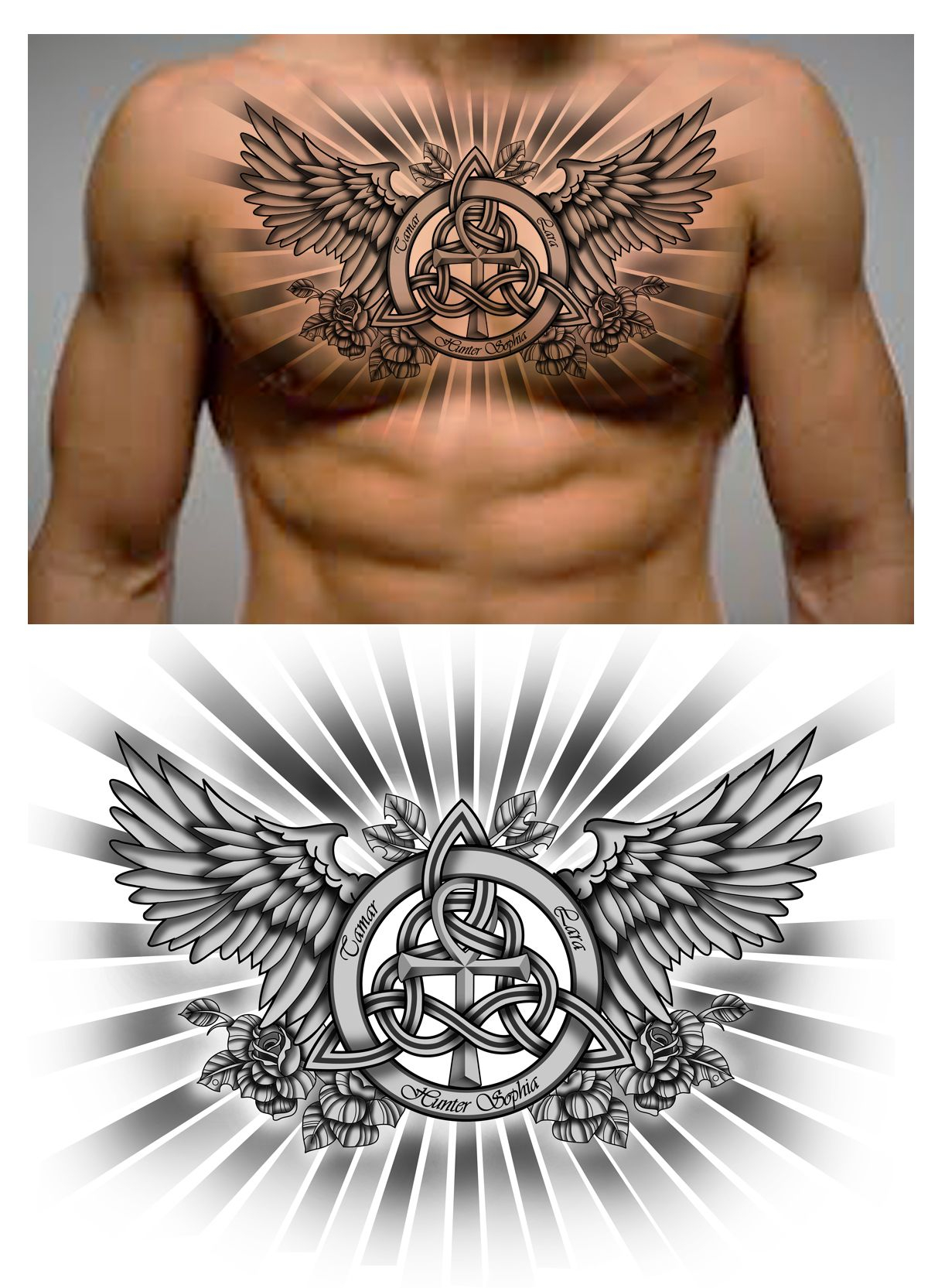 Family Trinity Knot With Names And Ankh Symbol In It Chest Piece with regard to proportions 1222 X 1665