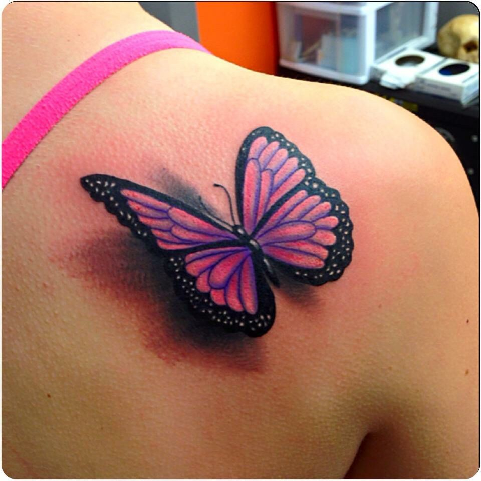 Finally Got My First Tattoo Turned Out Awesome 3 D Butterfly regarding sizing 960 X 960