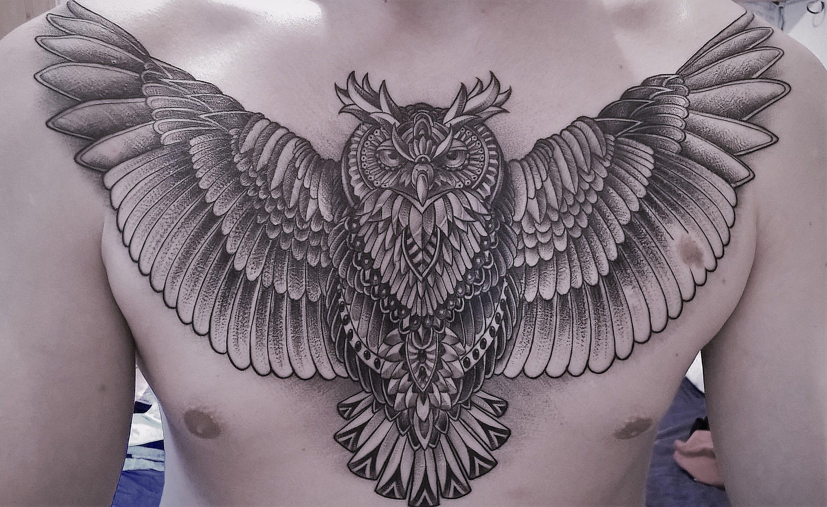 Geometric Owl Chest Tattoo In Dotwork Style Tattoosmenschest in dimensions 3422 X 2099
