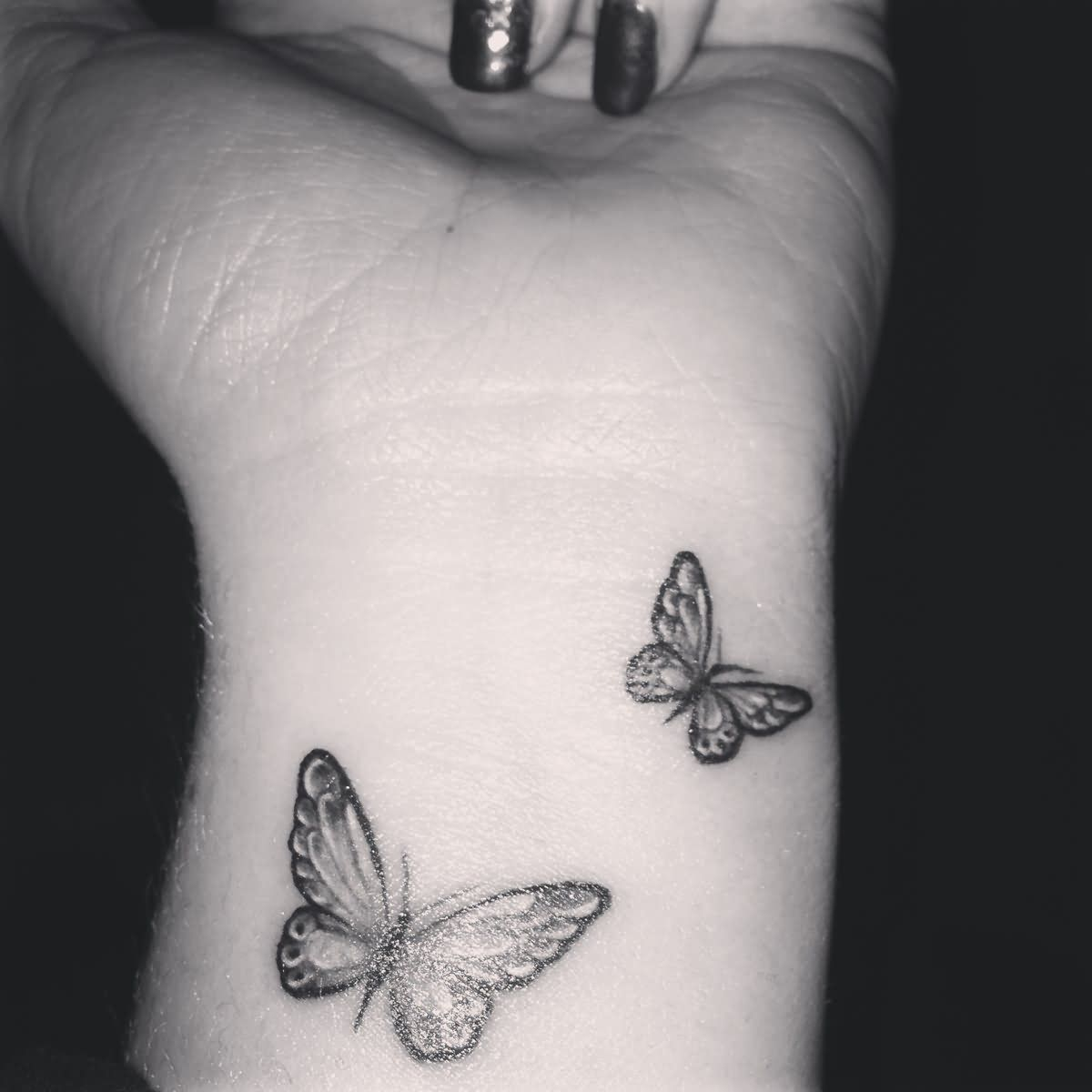 Grey And Black Butterfly Tattoos On Wrist For Girls Tattoos intended for sizing 1200 X 1200