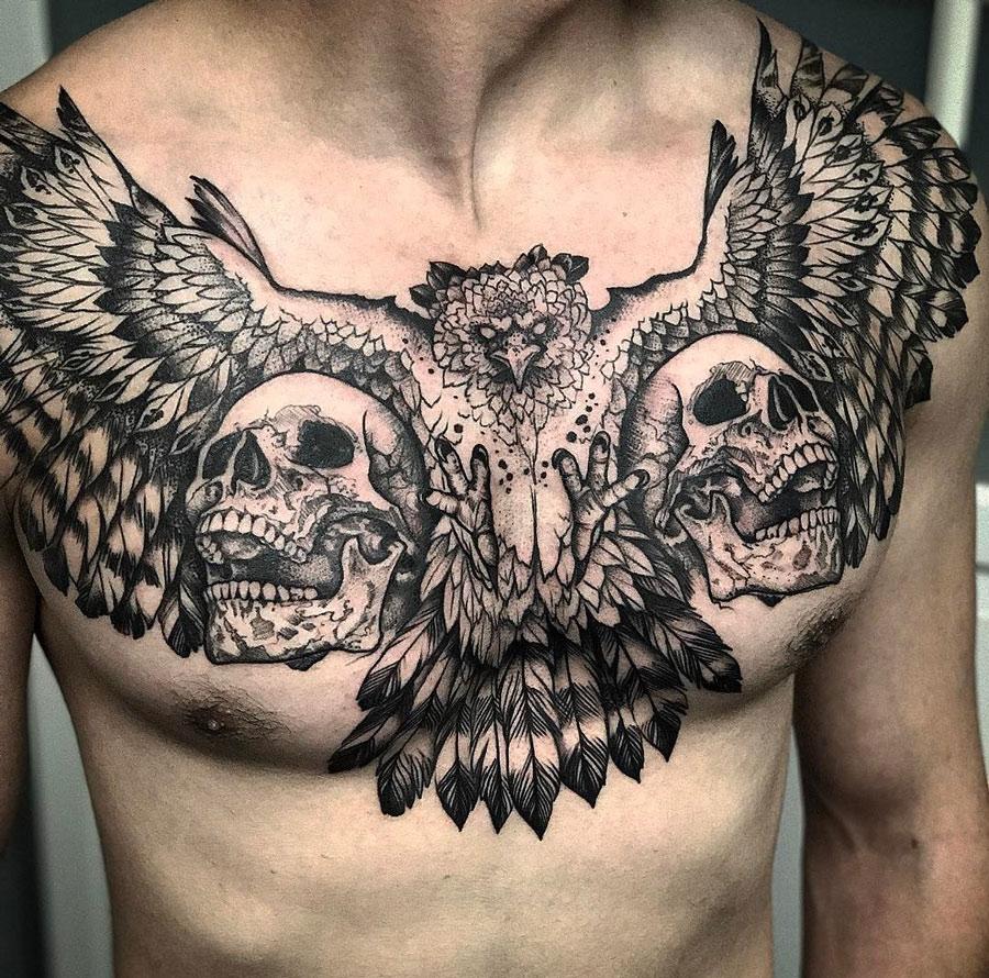 Harpy Eagle Skulls Mens Chest Piece Best Tattoo Design Ideas throughout size 900 X 890