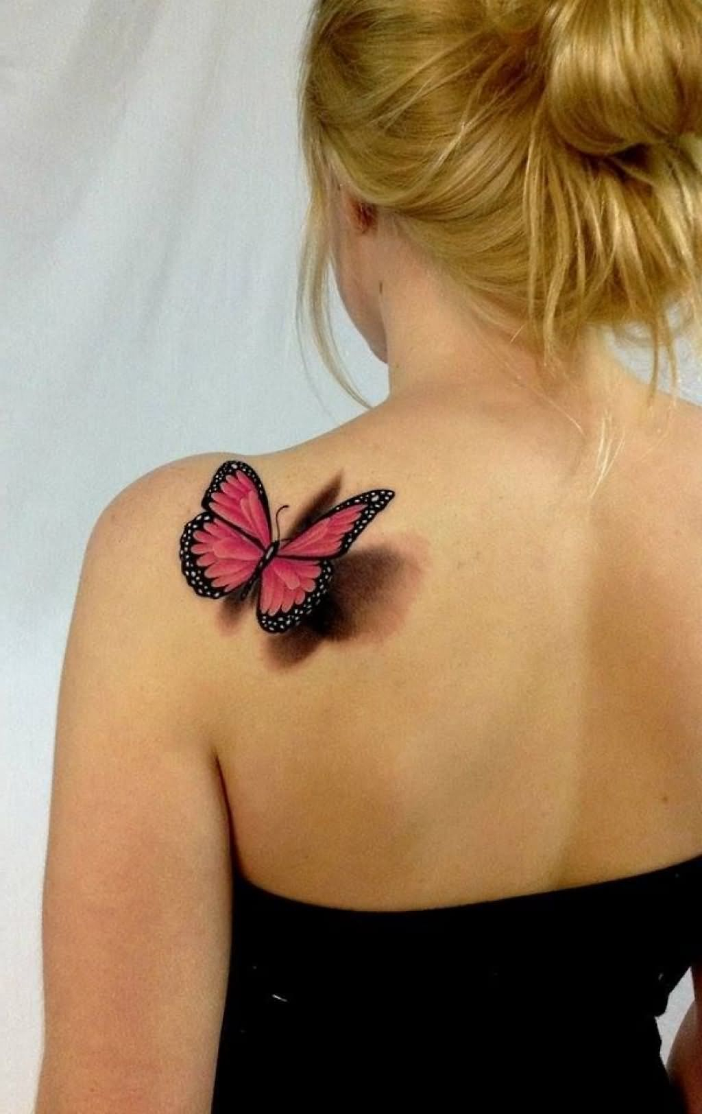 Incredible 3d Red Butterfly Tattoo On Back Shoulder Leika 3d regarding size 1024 X 1624