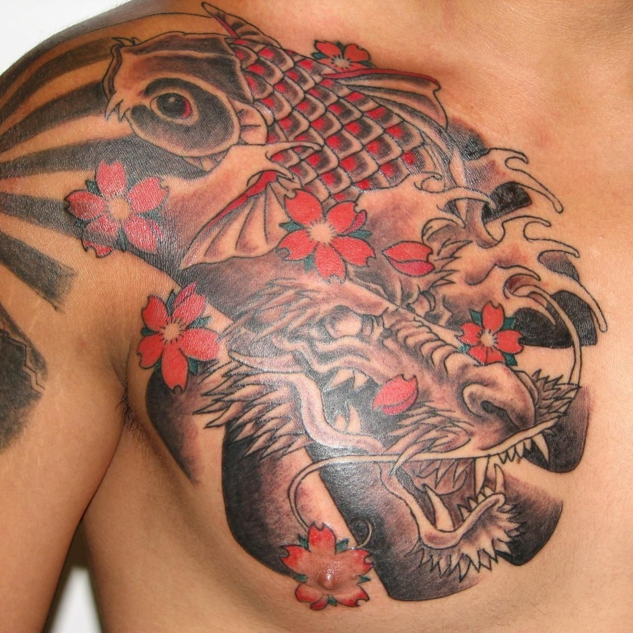 Japanese Dragon Koi And Flower Tattoos On Chest Tattoo Koi Fish inside proportions 1280 X 1280
