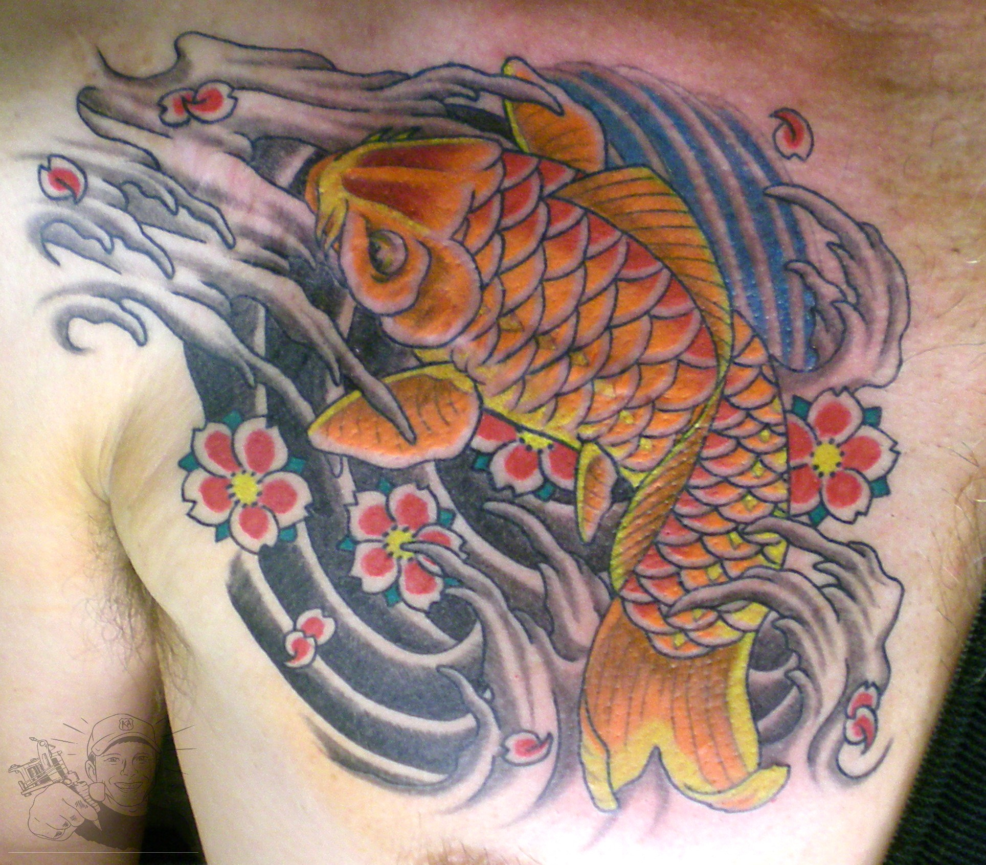 Japanese Koi Chest Tattoo For Men with measurements 1928 X 1692