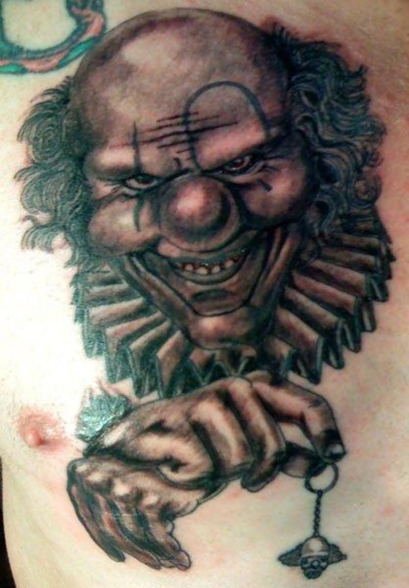 Joker Clown Tattoo On Chest Nasty Clown Tattoos Clown Tattoo throughout sizing 800 X 1151