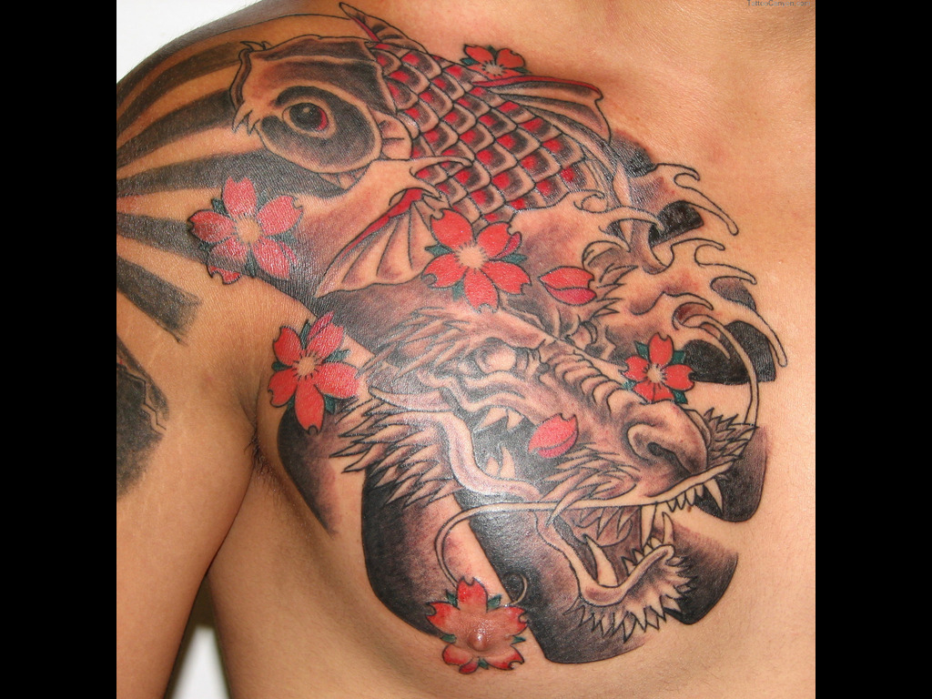 Koi Fish Tattoo On Chest For Men Tattoo Ideas in proportions 1024 X 768