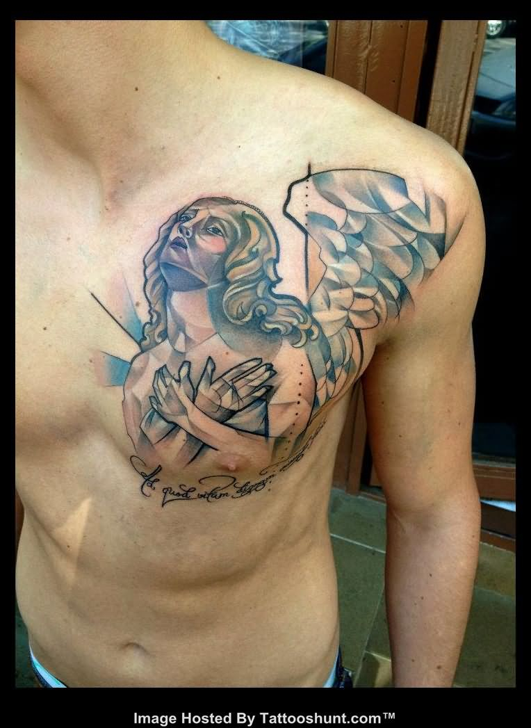 Left Side Abstarct Angel Chest Tattoo in size 764 X 1047