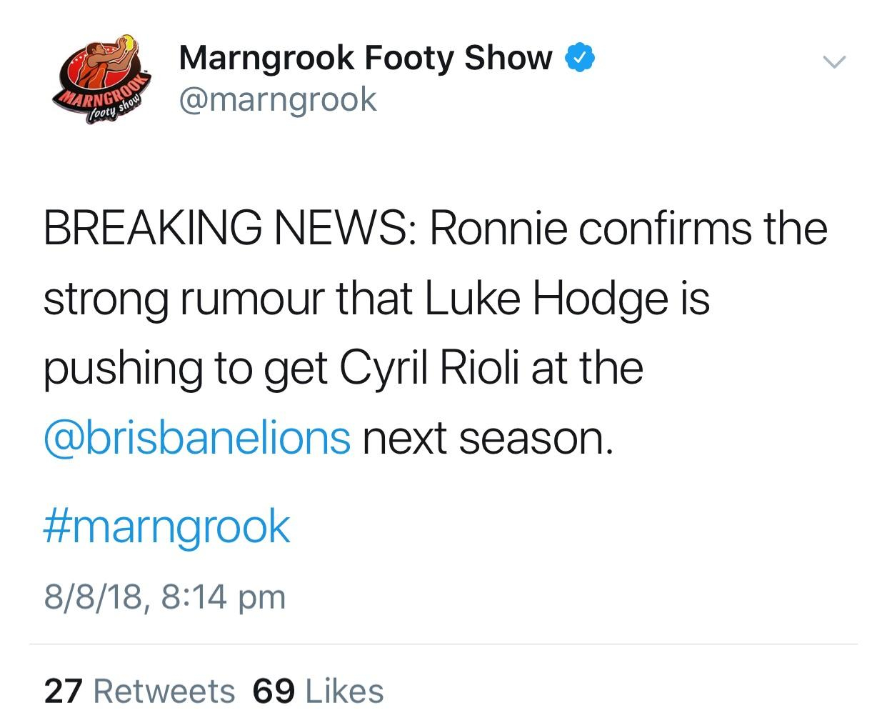 Luke Hodge Is Trying To Get Cyril Rioli To The Gabba Next Year Afl regarding dimensions 1242 X 1019