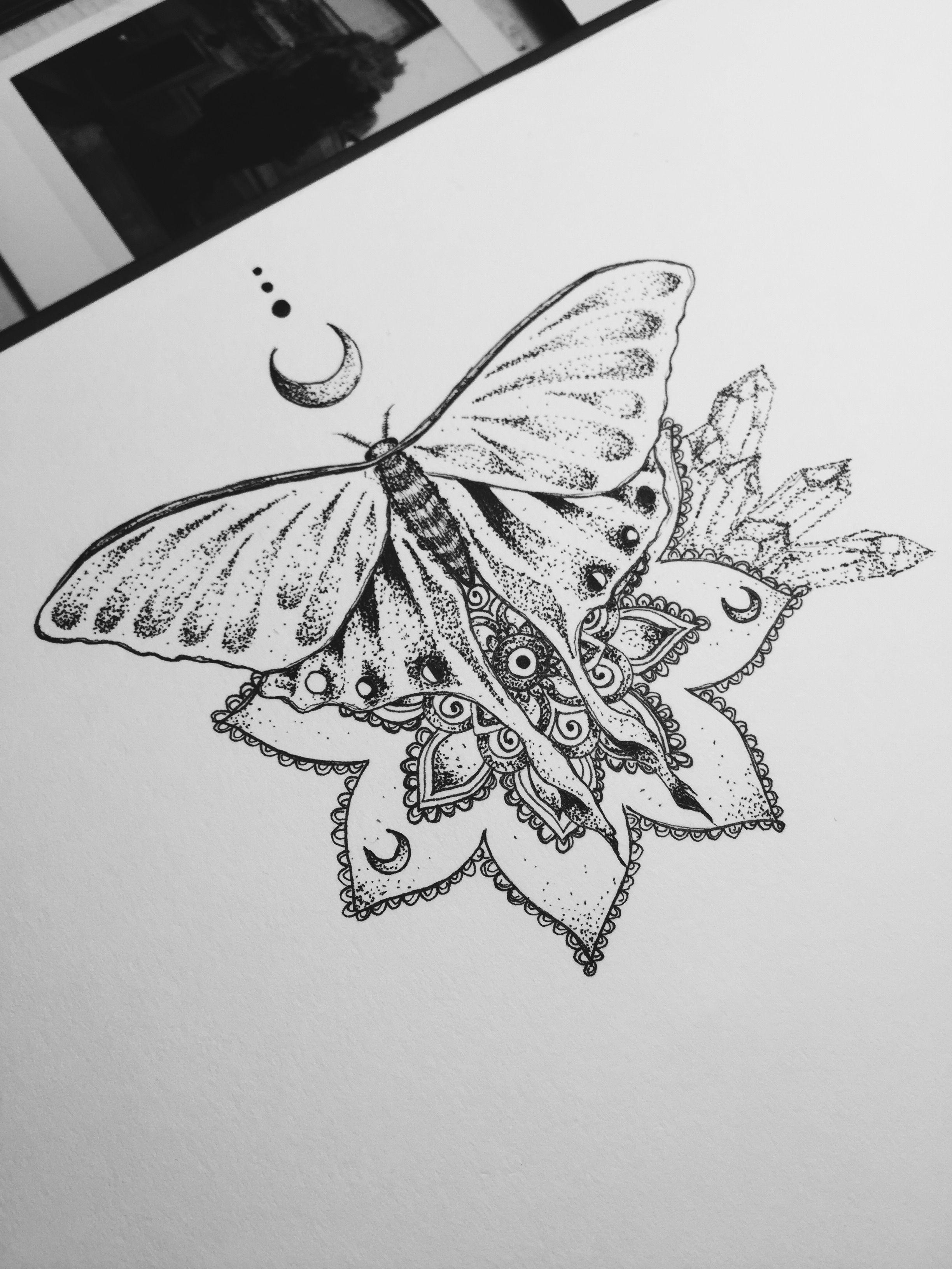 Luna Moth Tattoo Design Mandala Henna Moon Dotwork Crystal Cluster throughout proportions 2448 X 3264