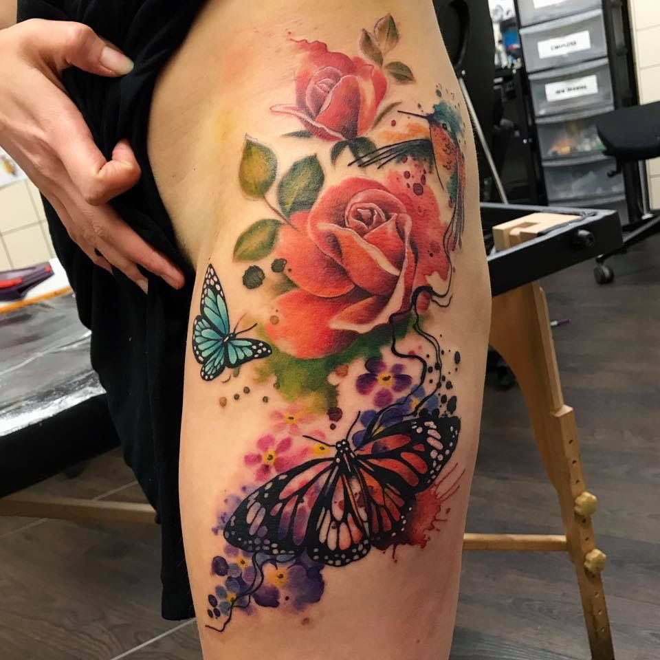 My Hip Tattoo With Roses Butterflies Watercolour Humming Bird for size 960 X 960
