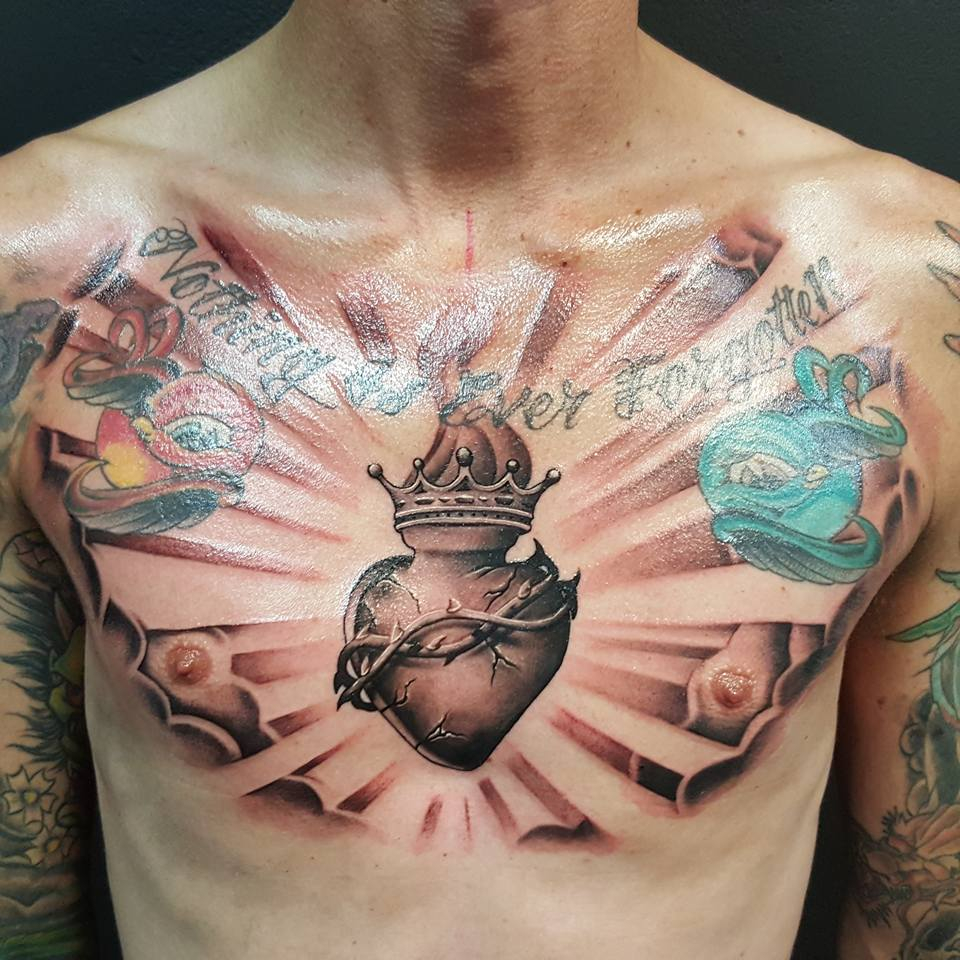 Nothing Is Ever Forgotten Sacred Heart Tattoo On Chest Kane with proportions 960 X 960