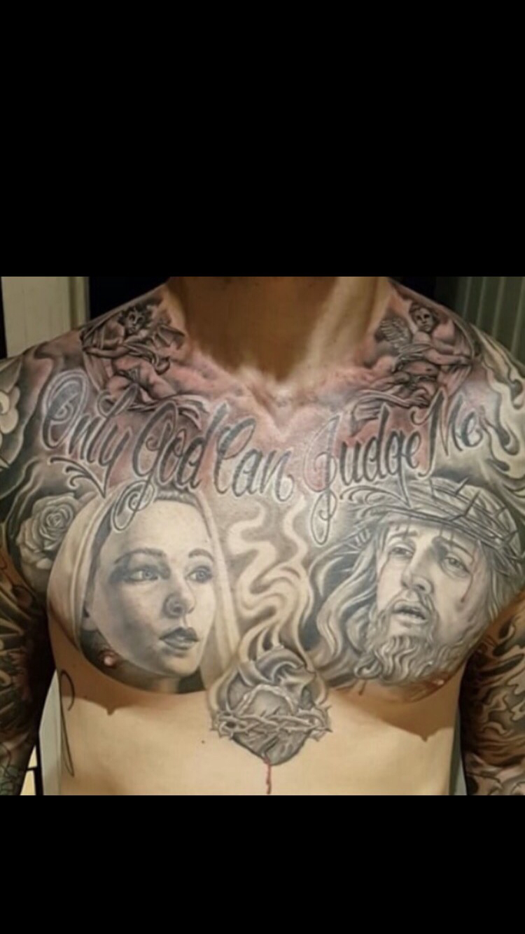 Only God Can Judge Me Jesus Mary Chest Tattoo Tattoo Ideas with regard to size 750 X 1334