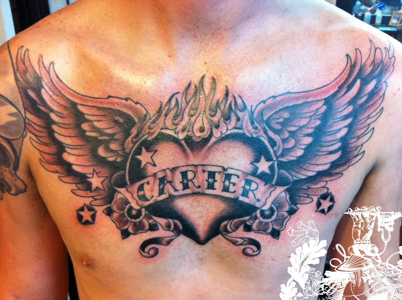 Open Heart Chest Tattoo Angel Chest Tattoo Images Designs Newest regarding dimensions 1296 X 968