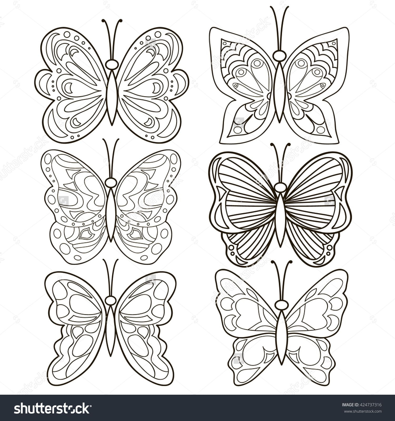 Outline Collection Set Of Vector Hand Drawn Butterflies Tattoo inside proportions 1500 X 1600
