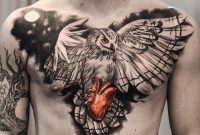 Owl Heart Chest Piece Tattoos Chest Piece Tattoos Realistic pertaining to dimensions 900 X 900