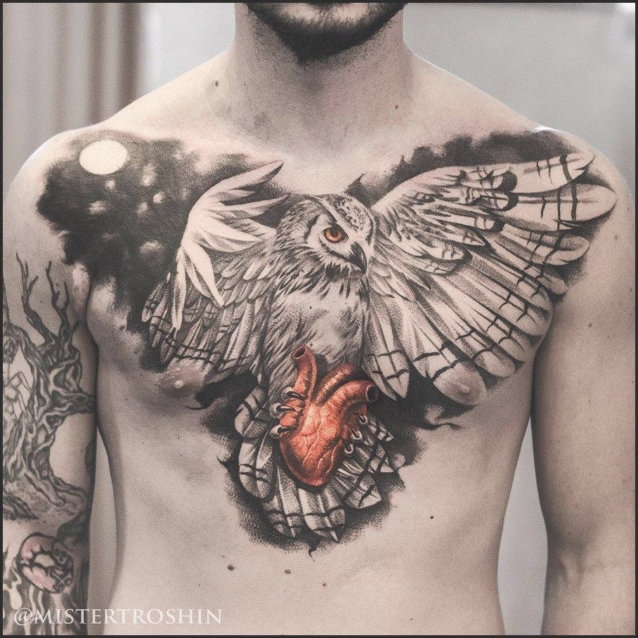 Owl Holding Heart Chest Tattoo Best Tattoo Design Ideas Heart for measurements 908 X 908