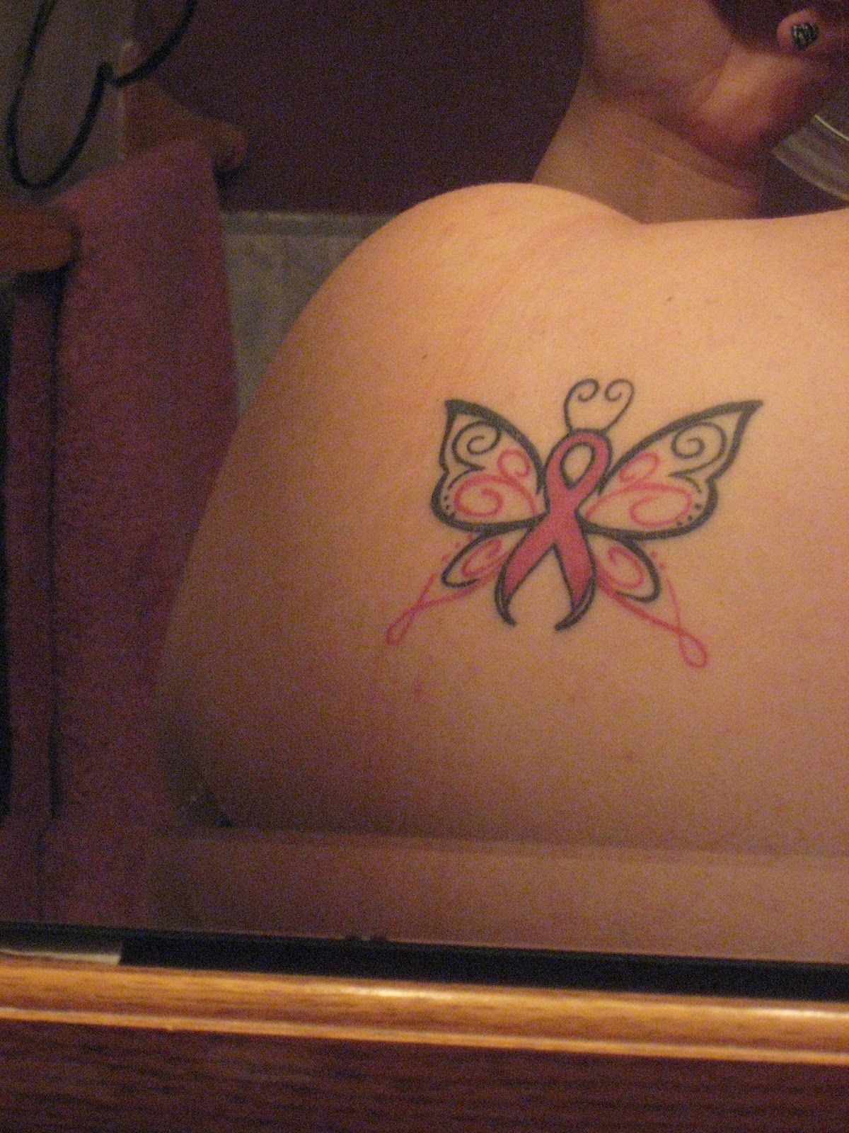Butterfly Tattoos With Breast Cancer Ribbon Arm Tattoo Sites