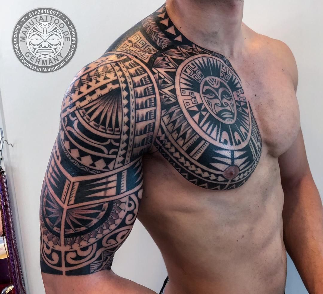 Polynesian Chest And Arm Sleeve Inked Samoan Tattoo Tribal regarding measurements 1080 X 985