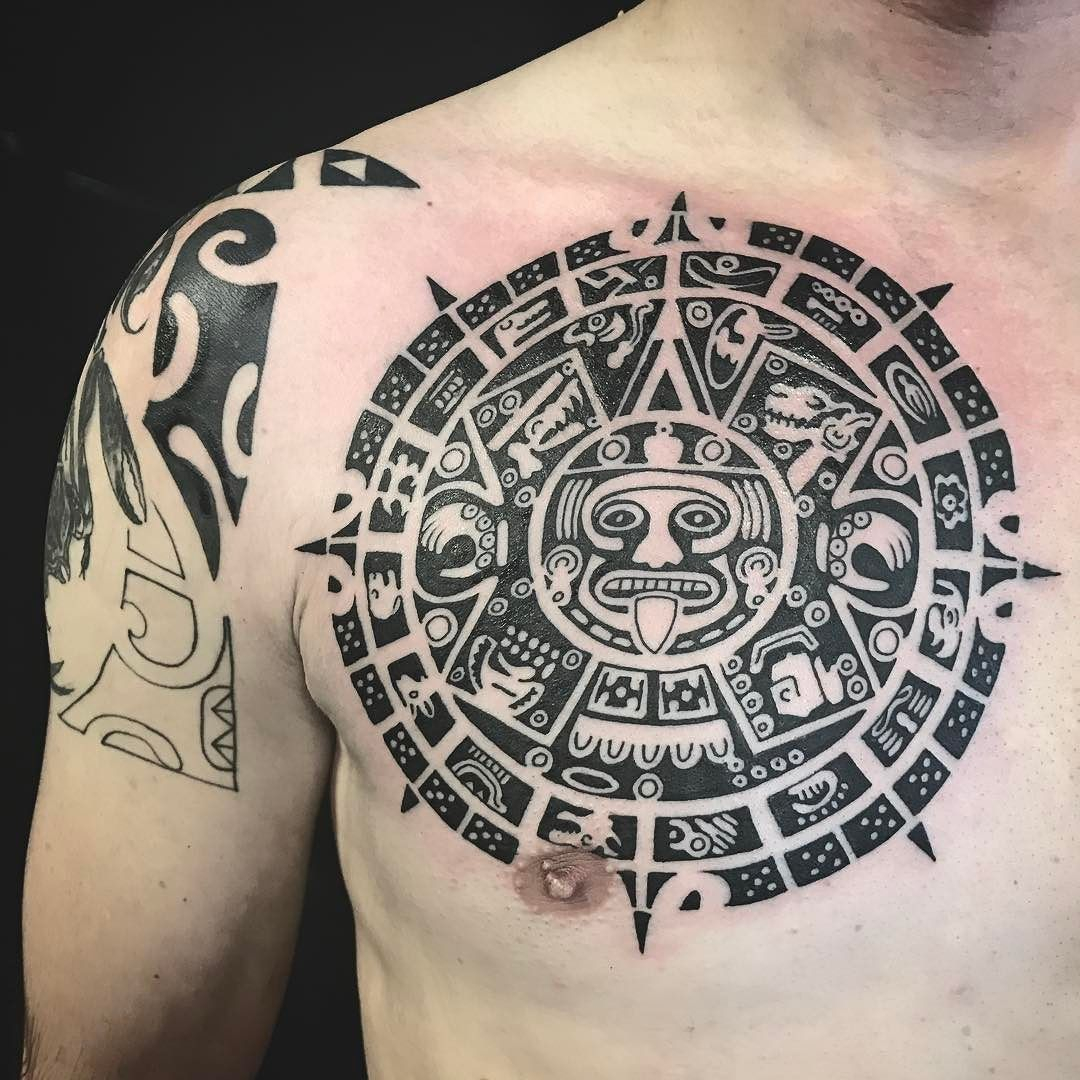 Polynesian Chest Piece Part Of Mayan Calendar Tattoo throughout size 1080 X 1080