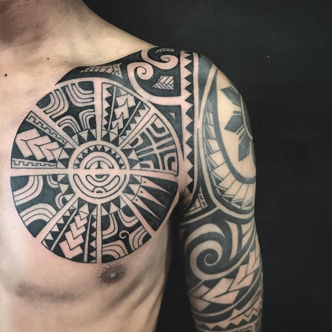 Polynesian Chest Tattoo Addition To A Half Sleeve Tattoos within measurements 1080 X 1080