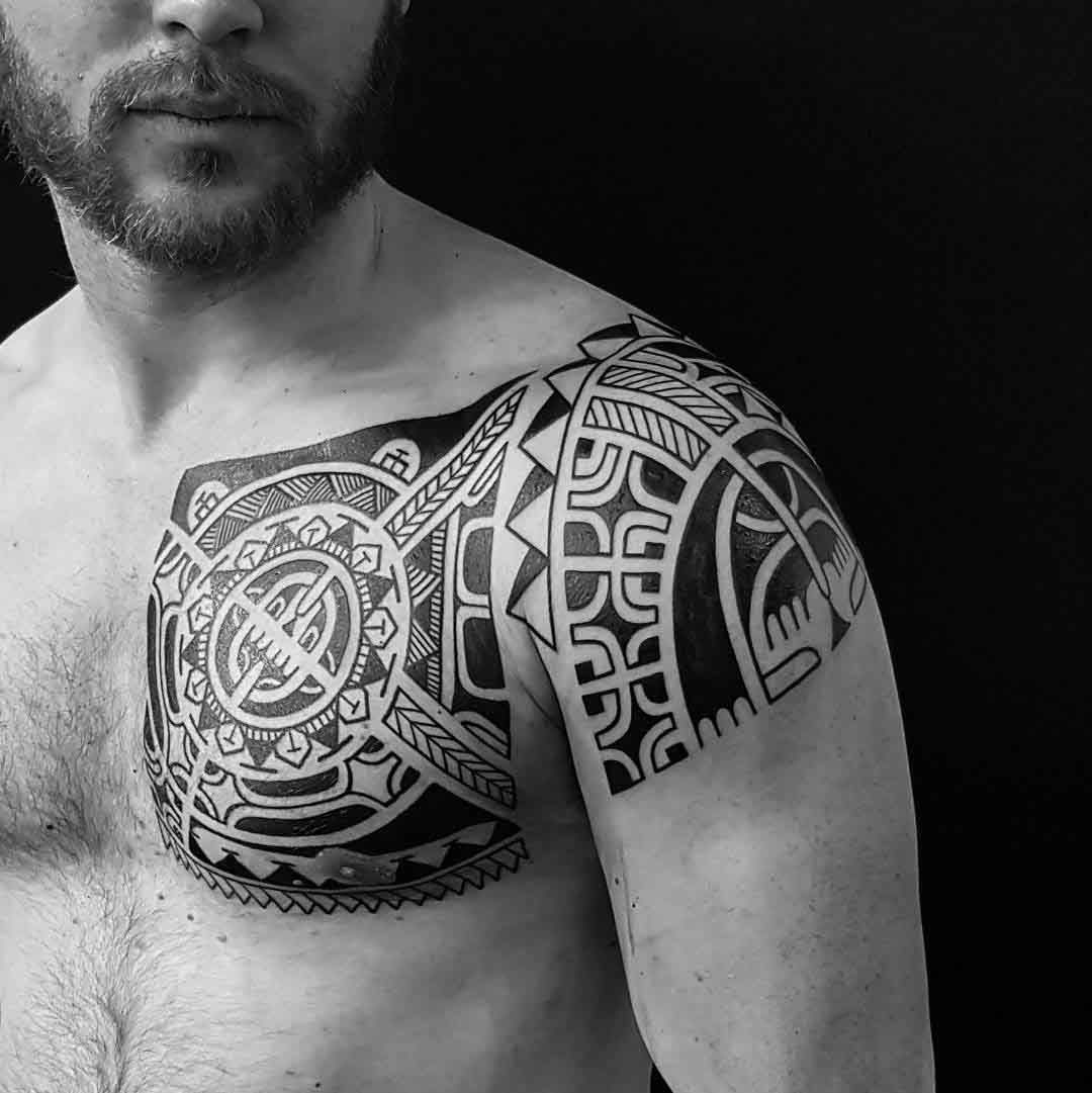 Polynesian Chest Tattoo To Shoulder Tattoos Samoan Tattoo Maori within dimensions 1080 X 1081