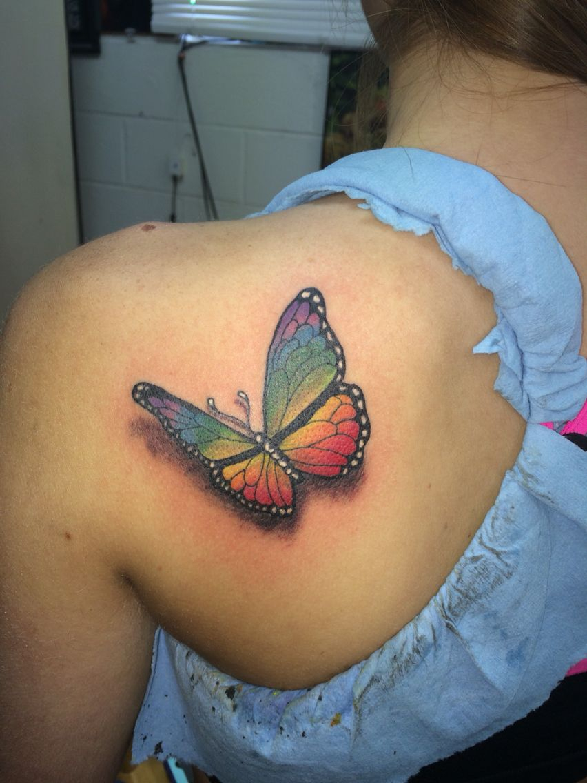 Realistic Rainbow Colored Butterfly Tattoo Done Ricky Garza In pertaining to dimensions 852 X 1136