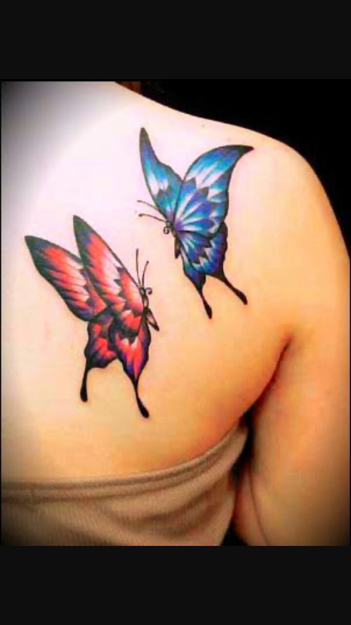 Red And Blue Two Flying Butterflies Tattoo On Girl Back Shoulder within sizing 720 X 1280