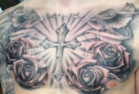Religious Tattoo Chest Piece Black And Grey Roses And Doves O in proportions 960 X 960