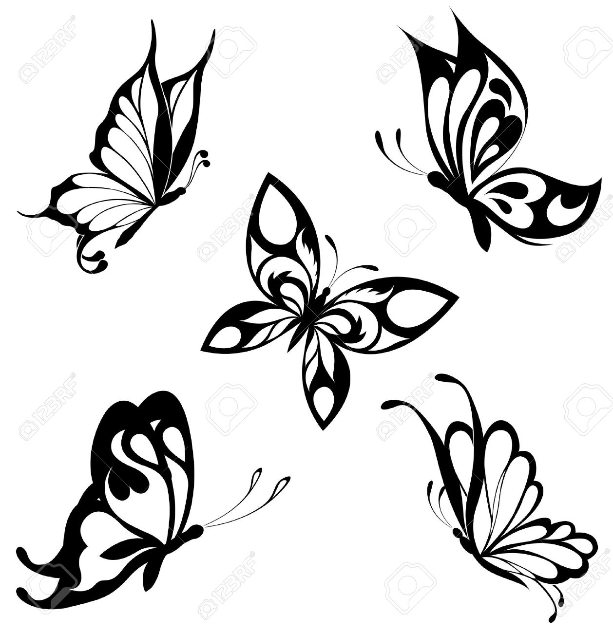 Set Black White Butterflies Of A Tattoo Royalty Free Cliparts regarding dimensions 1258 X 1300