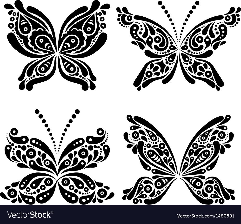 Set Of Beautiful Black And White Butterfly Tattoo Vector Image throughout size 1000 X 930