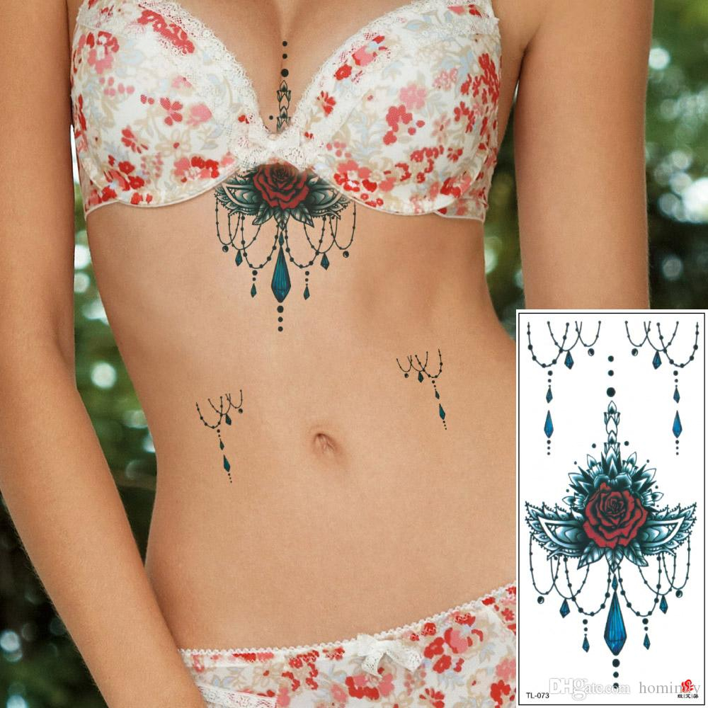 Sexy Women Chest Sternum Temporary Tattoo Designs Rose Flower throughout sizing 1000 X 1000