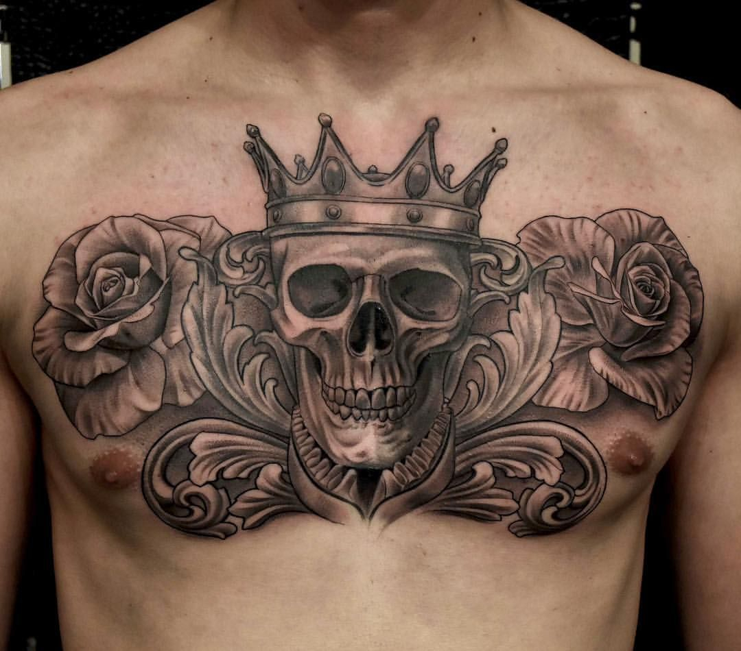 Skull With Crown Tattoo Roses Tattoo Chest Piece Chest Tattoo in dimensions 1080 X 950