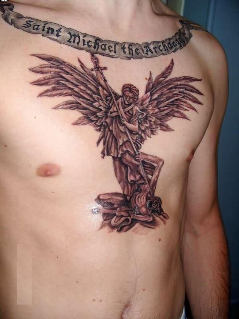 St Michael The Archangel Western Tattoo On Chest Saint Michael The inside measurements 800 X 1067