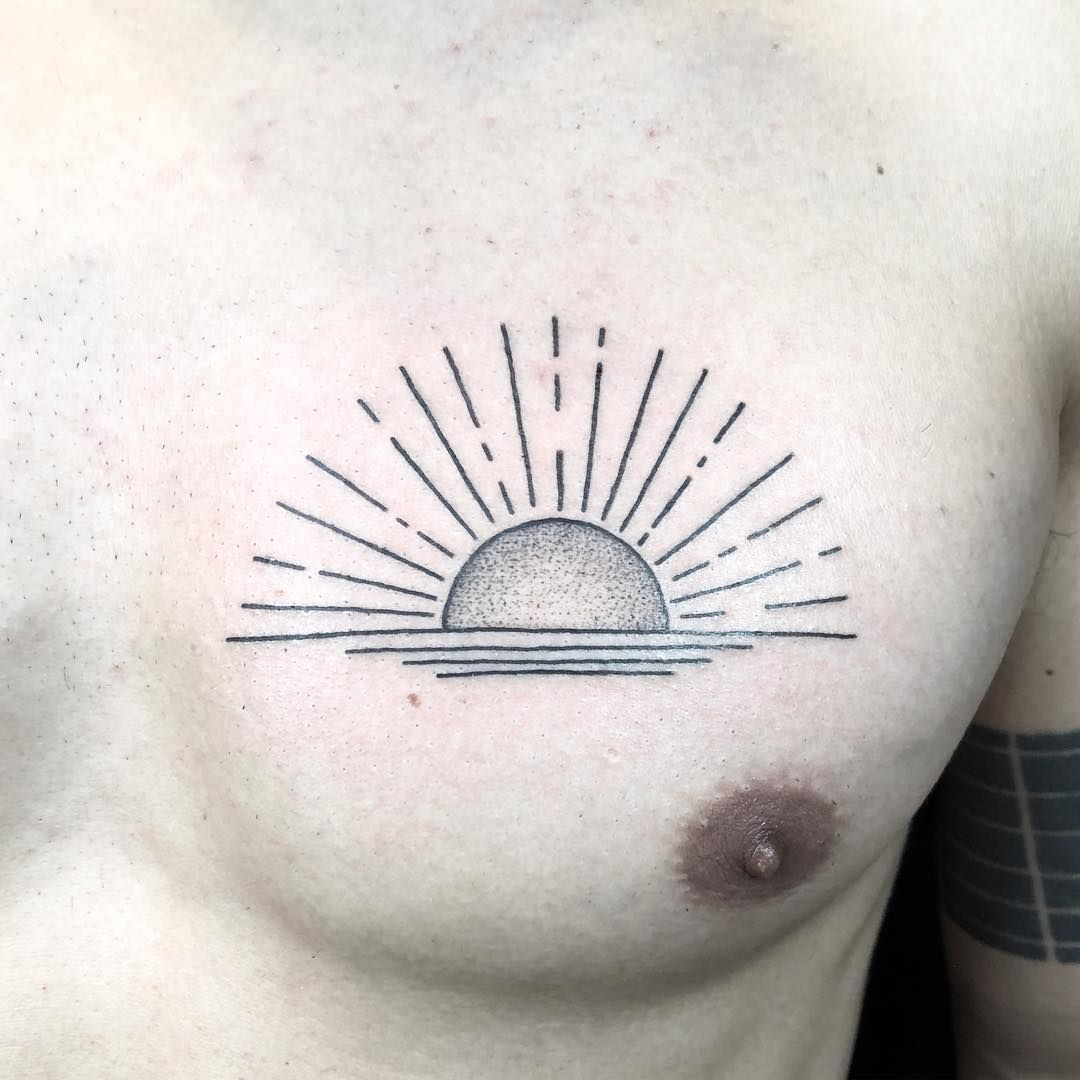 Sunrise Over The Water Tattoo On The Left Side Of The Chest Best for sizing 1080 X 1080